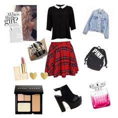 """""""Style #school life on the A list"""" by styleislife235 on Polyvore featuring Lipsy, Levi's, Victoria's Secret, Tory Burch, Jimmy Choo and Bobbi Brown Cosmetics"""