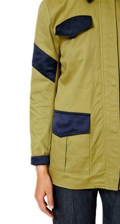 VEDA x Manrepeller Military Jacket Olive with Navy satin details