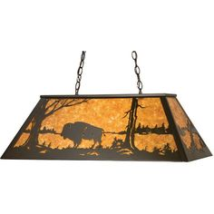 33 Inch L Buffalo At Lake Oblong Pendant - Custom Made. 33 Inch L Buffalo At Lake Oblong PendantBuffalo by a lake in the woods is depicted on anoblong pendant. This American Bison fixture is finished in Timeless Bronze, has Amber mica panels and is handcrafted in the USA by Meyda artisans. Theme:  RUSTIC LODGE ANIMALS COUNTRY Product Family:  Buffalo at Lake Product Type:  CEILING FIXTURE Product Application:  BILLIARD/ISLAND Color:  TIMELESS BRONZE/AMBER MICA Bulb Type: MED Bulb Quantity…