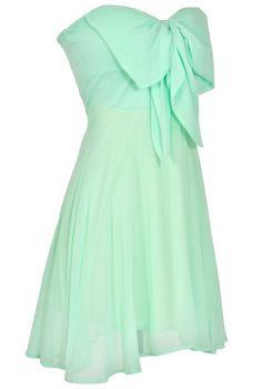 Oversized Bow Chiffon Dress in Mint
