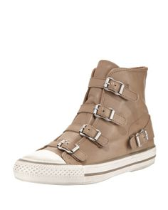 Ash Virgin Buckled High-Top Sneaker, Taupe