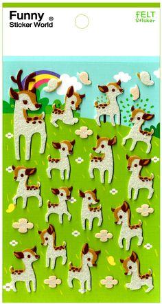 Funny Sticker World Rainbow Deer Felt Sticker Sheet
