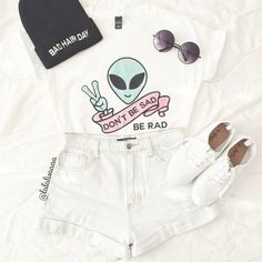 t-shirt colour alien grunge rad material pattern funky quote on it white slogan tee top denim high waist high waisted sunglasses indie clothes outfit aliens shoes trainers sneakers t-shirt sad shirt alternative