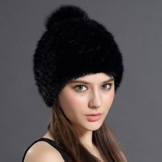 Hot Sale Mink Fur Beanies Cap With Fox Fur Pompoms For Women New Brand  Thicken Female c30a4fcc062