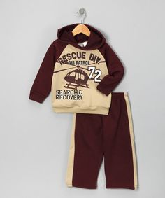 Take a look at this Burgundy 'Search' Hoodie & Track Pants - Infant & Toddler on zulily today!