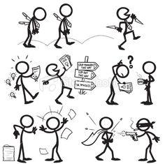 Stickfigure confrontation Royalty Free Stock Vector Art Illustration