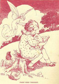 "Leigh Kidman vintage illustration- ""Fairy Kind Thought"""