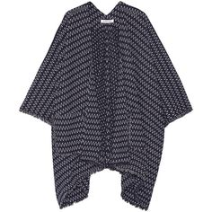Elizabeth and James Jerrison fringed stretch-knit poncho (6 590 ZAR) ❤ liked on Polyvore featuring outerwear, jackets, navy, fringe poncho and elizabeth and james