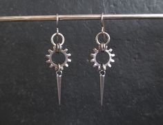 Spike Earrings, Industrial Earrings, Stainless Steel Earrings, Hypoallergenic Earrings, Washer Earrings, Hardware Jewelry, Gear Earrings by BlackCatLinks on Etsy https://www.etsy.com/listing/175579388/spike-earrings-industrial-earrings