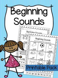 Beginning Sounds Printable Worksheet Pack - Pre-K Kinderga