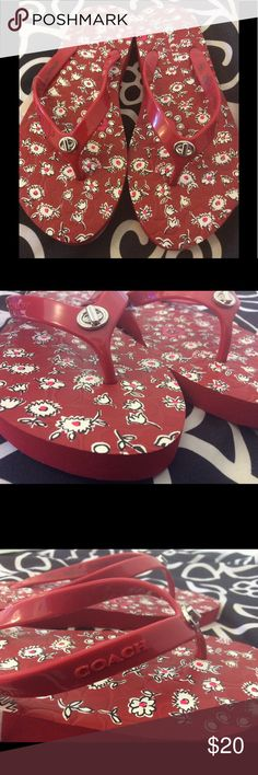 Coach Flip Flops☀️Summer Sale💵☀️Price Firm💵 These cute flip flops feature a whimsical floral print. If you're looking for a vibrant way to spice up your summer attire look no further.☀️😎 Coach Shoes Sandals