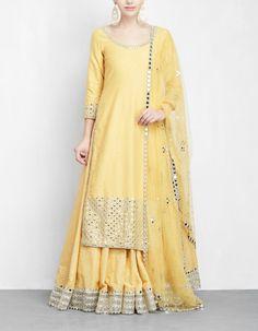 4cff90c964 Yellow Mirror Work Lehenga Set Kurta Lehenga, Saree Gown, Silk Lehenga,  Lehenga Style