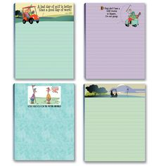 Funny Golf Assorted Notepads.  A Perfect gift for the golfer in your life!  Set of 4 assorted golf themed notepads.  Each notepad has its own humorous golf cartoon image.  Great golfer gift!