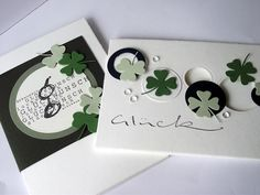 handdmade luck/St Patrick's Day cards from LISA`SaRT: Alexandra Renke ... kie cut four leaf clover and circles ...