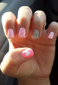 Gel nail designs #pink #hearts #beaumondespa