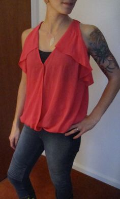 From fix #1: Christie Cross-Front Ruffle Detail Tank. Loved the color and the way it showed off my shoulders. Did NOT love the blouse-y-ness of the top.