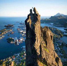 Svolvær in North Norway, climbing the Svolværgeita (geit = goat). Photo @j_bonde