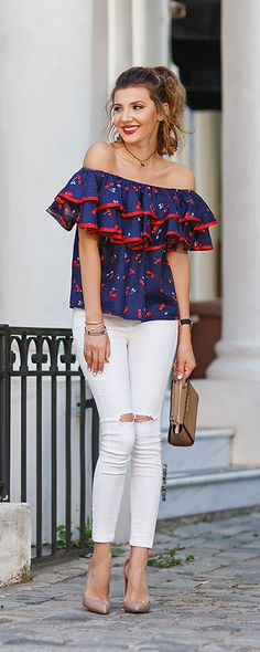 Off The Shoulder Cherry Print Ruffle Top