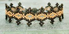 Linda's Crafty Inspirations: Seed Bead Lacy Bracelet - Yellow & Bronze