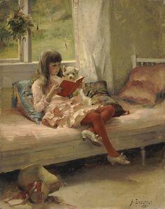 Bons Amigos - Retrato da irmã do artista Berta Edelfelt - Albert Gustaf Edelfelt - Pintor realista finlandês (1854-1905)