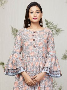 Blue Peach Floral Block Printed Cotton Kurta