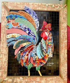 Bottle Cap Art – Farm Rooster No. Mosaic Animals, Mosaic Birds, Butterfly Mosaic, Mosaic Flowers, Chicken Quilt, Chicken Art, Mosaic Crafts, Mosaic Projects, Mosaic Ideas