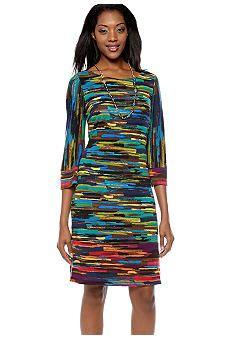 Robbie Bee Abstract Stripe Knit Shift Dress #belk #color