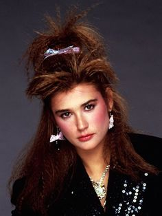 Demi Moore with crimped hair, c. 1985.