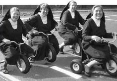 These sisters know how to have a good time! These vintage photographs below reveal the surprising side of convent life. Here are nuns on rol. Cool Calendars, Bride Of Christ, Les Religions, In Vino Veritas, Vintage Pictures, Vintage Photographs, Funny Photos, Old Photos, Christianity
