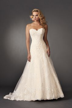 Wedding Dress Photos, Wedding Dresses Pictures Jordan Fashions Style Shown in Diamond White/Bisque…Strapless fit and flare lace gown with sweetheart neckline and semi cathedral train. Wedding Dresses Photos, Wedding Dress Styles, Dream Wedding Dresses, Wedding Attire, Bridal Dresses, Wedding Gowns, Bridesmaid Dresses, Lace Weddings, Country Weddings