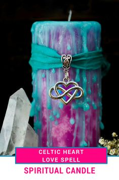 Love the colors on this. Love spell wax, spiritual candles, witchcraft candle, celtic knot, goddess candle, pink and turquoise candle, aphrodite and venus deities #ad #spiritual @witchcraft