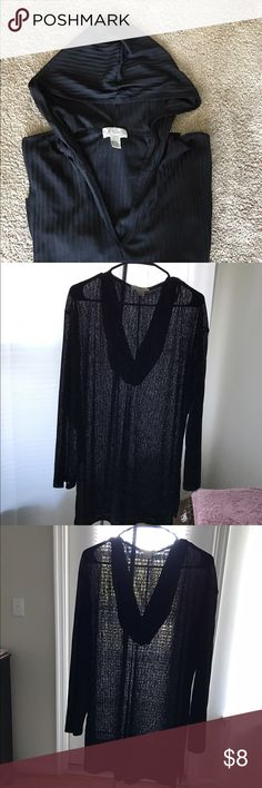 J. Valdi Black Bathing Suit Cover Up (sz M) Black bathing suit cover up. Long sleeve, hooded sheer with slits on the side.  Used but in excellent condition. J. Valdi Swim Coverups