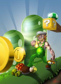 "Fanart of the Super Mario Bros. character ""Luigi"" (©Nintendo) Vectorart made with Illustrator Cs6 © 2012 by Thorsten Pfeiffer - Illustrathor"