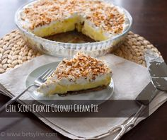 Recipe for a creamy coconut pie with a crust made from Girl Scout shortbread cookies.