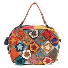 Women Cowhide Patchwork Flower Crossbody Bag Handbag