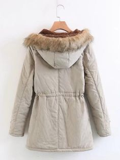 Style:                 Casual                      Style: Casual   Color: Beige   Pattern Type: Letter   Neckline: Hooded   Length: Short   Type: Parka   Details: Contrast Faux Fur, Drawstring, Patched, Pocket, Button   Sleeve Length: Long Sleeve   Season: Winter   Fit Type: Regular Fit   Sheer: No   Placket: Single Breasted   Material: Polyester   Composition: 100% Polyester   Fabric: Non-Stretch Best Parka, Printed Bomber Jacket, Winter Fits, Black Khakis, Womens Parka, Belted Coat, Denim Coat, Parka Coat, Corduroy Jacket
