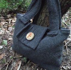 Purse  Handmade Wool Handbag in Charcoal  by ARemarkYouMade, $39.95