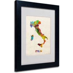 Trademark Fine Art Italy Watercolor Map by Michael Tompsett, Black Frame, Size: 11 x 14, Multicolor