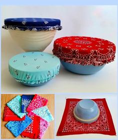 Add patriotic panache to your next summer BBQ or of July picnic with these vintage bandana bowl covers! Easy, low-sew upcycle project that makes reusable / washable bowl covers that are cute AND functional! Diy Sewing Projects, Sewing Projects For Beginners, Sewing Hacks, Sewing Crafts, Sewing Tips, Fabric Crafts, Upcycled Crafts, Diy Gifts, Homemade