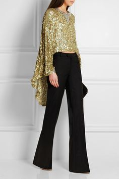 SONIA RYKIEL Cape-back sequined open-knit top
