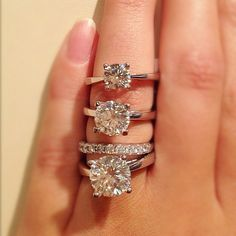 1, 2, and 3-carat. Cool way to see it. Lovee the simple band. 1-carat is sufficient for me. It may even be too much