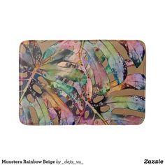Monstera Rainbow Beige Bath Mat Grey Bath Mat, Swiss Cheese Plant, Grey Baths, Monstera Deliciosa, Feeling Great, Party Hats, Art Pieces, Beige, Gray