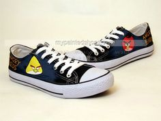 Angry Birds Hand Painted On Shoes Angry Birds Hand Custom Shoes,Low-top Painted Canvas Shoes