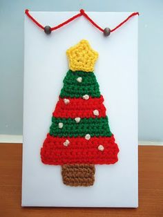 Crochet Christmas Cards - what a cute idea!
