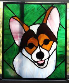Stained Glass Corgi Portrait