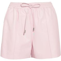 Givenchy Pastel-pink leather drawstring shorts (€850) ❤ liked on Polyvore featuring shorts, bottoms, pants, givenchy, pink, short and mini, givenchy shorts, leather mini shorts, leather shorts and draw string shorts