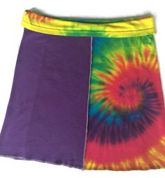Beatles Tie-dye Skirt. Hand made with upcycled t-shirts in multi-colors. Size medium. Washes beautifully.  Waste 32 Length 18