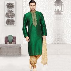 Men's Wear: - green sherwani perfect for party wear.