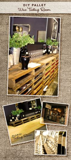 "I don't even drink enough wine to warrant needing a ""wine tasting room,"" but using pallets to hold items is a pretty freaking cool idea.  Craft room storage maybe??"