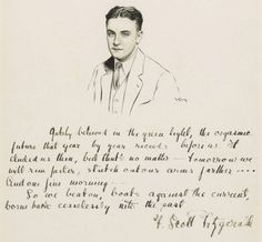The last paragraph of The Great Gatsby in Fitzgerald's own handwriting.  The last line is found on Scott and Zelda's tombstone.